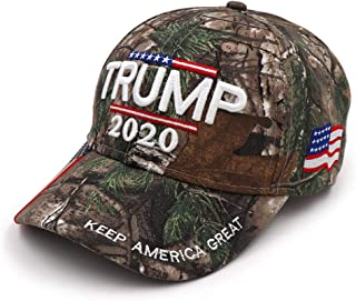 Trump 2020 Hat, Keep America Great Again 3D Embroidery Adjustable Baseball Hat with USA Flag for Men Women