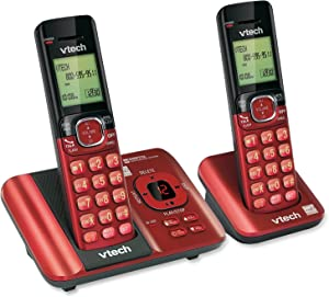 VTech CS6529-26 DECT 6.0 Phone Answering System with Caller ID/Call Waiting, 2 Cordless Handsets, Red (Renewed)