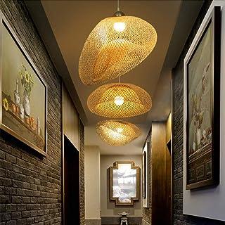 COCOL Suspension E27 Lampe Suspension Bambou Pendentif Industriel Lustre Tissage Intérieur Vintage Lampe Naturel Luminaire...