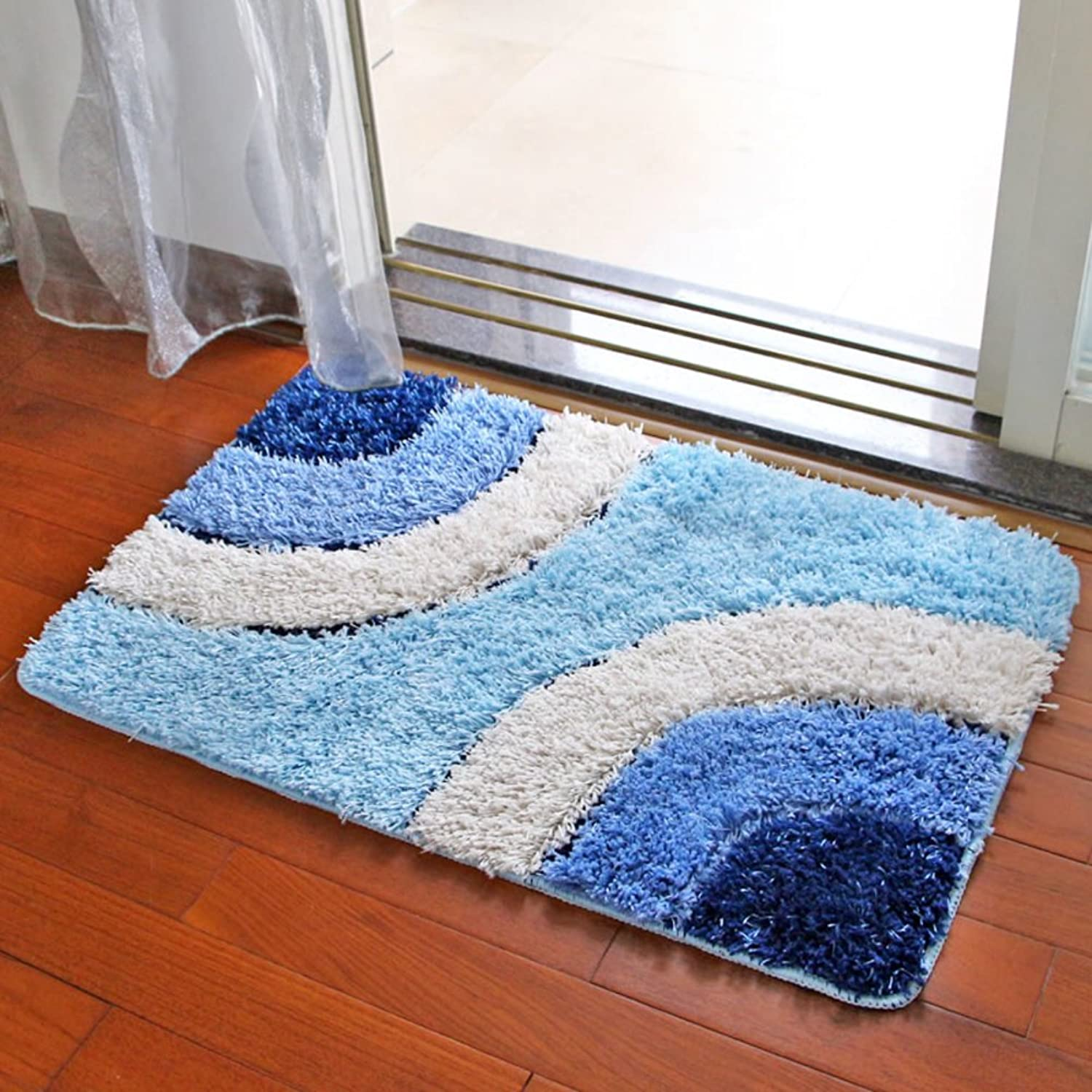 Da Jiang Ground mat Door mat Entrance Bathroom Bathroom mat Absorbent Foot mat mat Bedroom Carpet-bluee A 50x80cm(20x31inch)