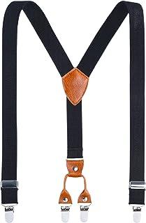 Kids Child Men Boy Suspenders - Adjustable Elastic Solid Color 4 Strong Clips Braces