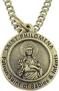 Silver Tone Catholic Patron Saint Medal on Chain, 3/4 Inch
