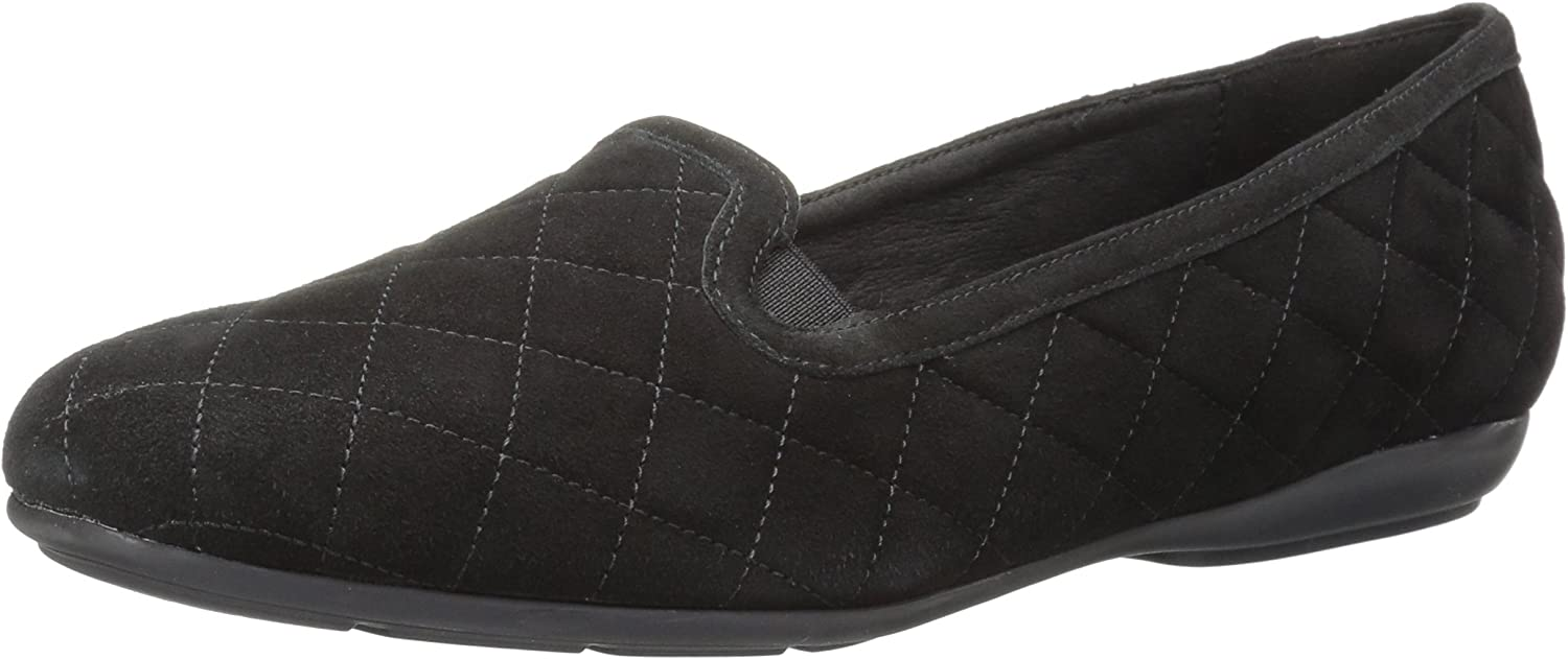 Geox Womens Annytah 7 Quilted Suede Round Toe Slipper Flats Slipper