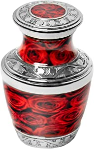 Cremation Urns for Human Ashes Adult Up to 3cu Handcrafted Brass Decorative Urns Crimson Rose (Small/Keepsake)