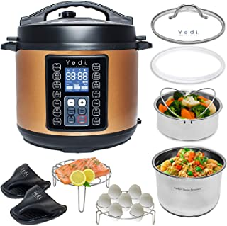 Yedi 9-in-1 Total Package Instant Programmable Pressure Cooker, 6 Quart, Deluxe Accessory kit, Recipes, Pressure Cook, Slow Cook, Rice Cooker, Yogurt Maker, Egg Cook, Sauté, Steamer, Copper