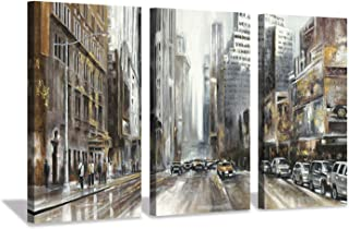 Hardy Gallery Abstract Cityscape Canvas Wall Picture: New York City Artwork Painting on Canvas for Room Decor (26'' x 16'' x 3 Panels)