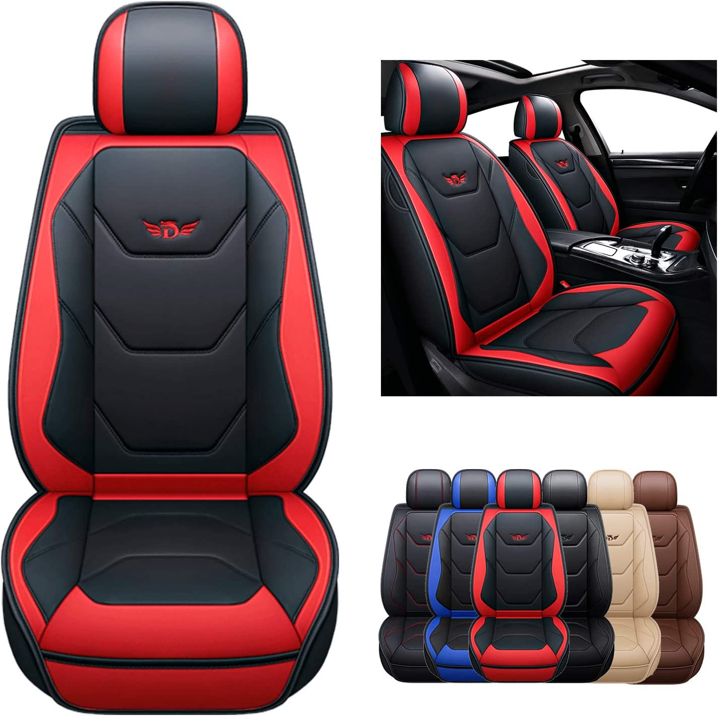 Sogloty Leather Car Seat Covers Auto Front Rear Cushion Cover $49.99 Coupon