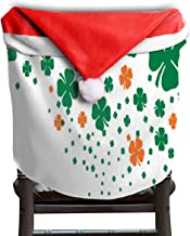 Ladninag Christmas Santa Claus Chair Back Cover Four Leaf Clover Flourish Border Xmas Red Hat Cat Chairs Slipcovers for Kitchen Dinner Table Party Home Decor Room Holiday Festive Set of 4