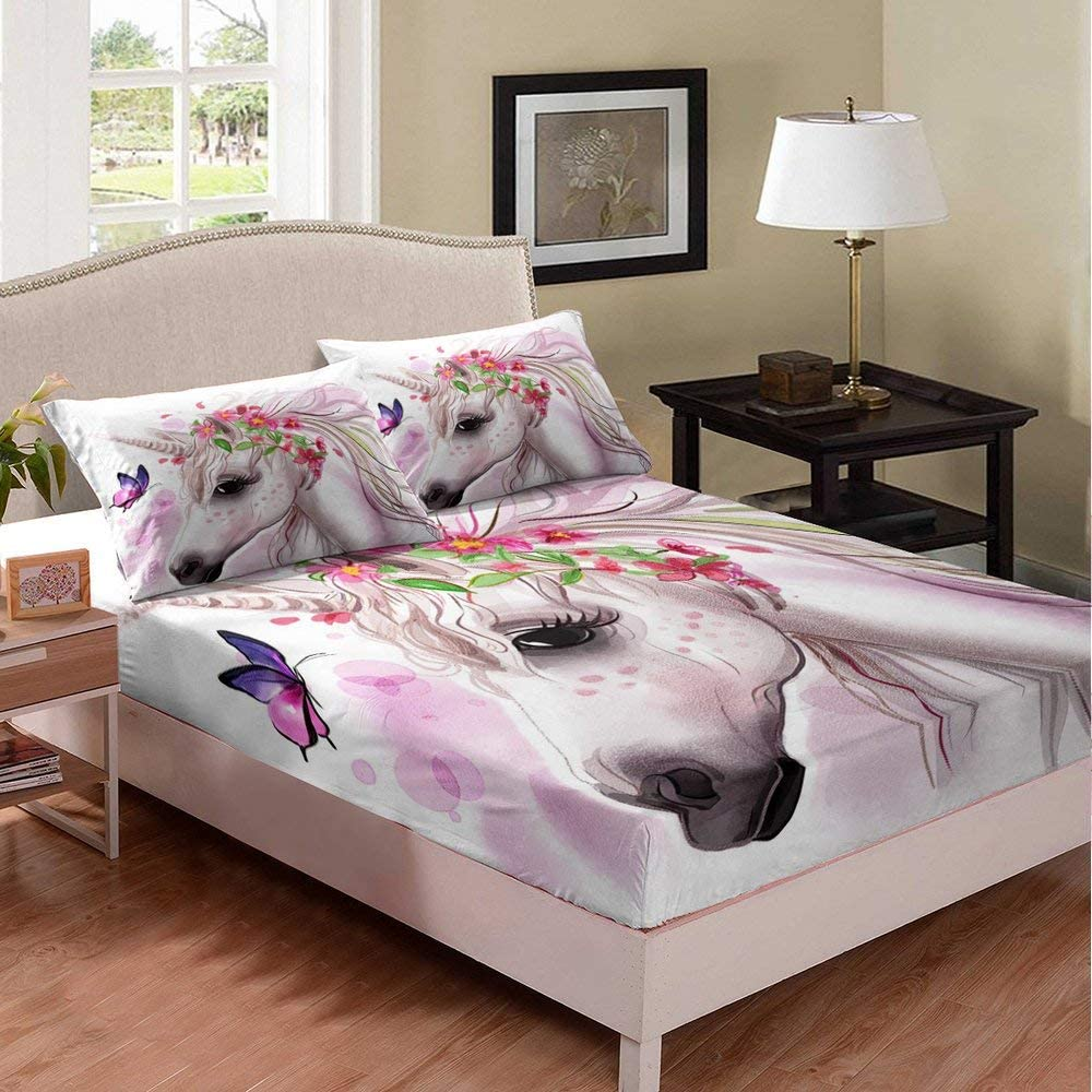 Unicorn Fitted Sheet 3 Pcs Pink Our shop New Shipping Free Shipping most popular Flowers with Dreamy Kids