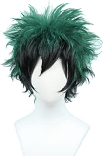Linfairy Anime Cosplay Wig Short Black Green Halloween Costume Curly Wig