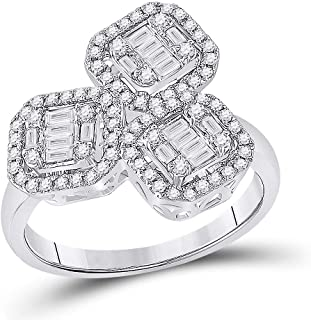 FB Jewels 14kt White Gold Womens Baguette Diamond Triple Square Cluster Ring 5/8 Cttw