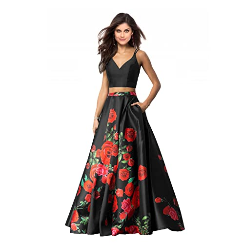 a8199521d2 Lily Wedding Womens 2 Piece Floral Printed Prom Dresses 2019 Long Formal  Evening Ball Gowns with