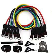 QOZY Latex Resistance Bands Set 11pcs | Workout Exercise Bands with Door Anchor, Handles | Stackable Up to 150lbs 68kgs | ...