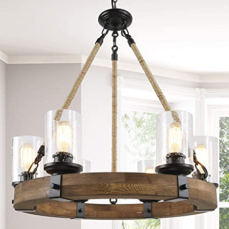 Lnc Farmhouse Chandelier Wood Round Wagon Wheel 6 Light Fixture With Seeded Glass Shades For Dining Living Room Bedroom Kitchen And Foyer Brown Amazon Com