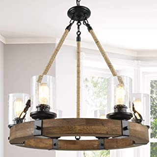 Farmhouse Chandelier for Dining Rooms,6-Lights 25'' Wagon Wheel Chandelier,Hemp Rope Wood Chandelier with Seeded Glass Shade