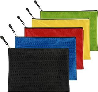 5 Pcs Pochette Document Zip, MEZOOM Sacs de Fichiers en Tissu Oxford Avec Fermeture Éclair Paquet Dossier Imperméable Rang...