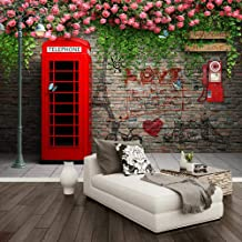 Afashiony Custom Photo Wallpaper Modern London Telephone Booth Rose 3D Wall Murals Cafe Restaurant Living Room Backdrop Wall Papers Decor-144Cmx100Cm