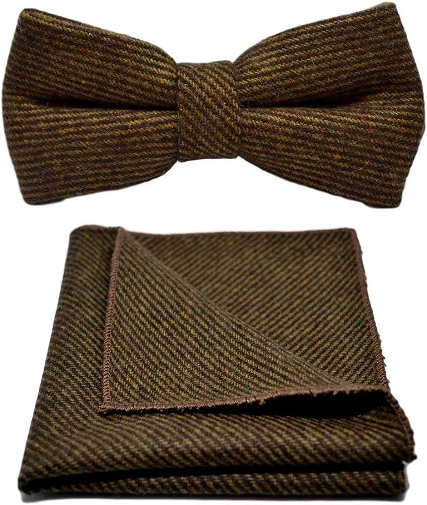 Brown Sharkskin Bow Tie & Pocket Square Set