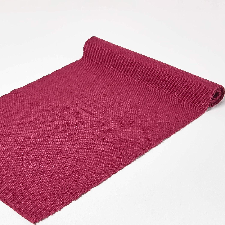 de algod/ón con estilo de cordoncillo Homescapes camino de mesa color crema 44x178cm