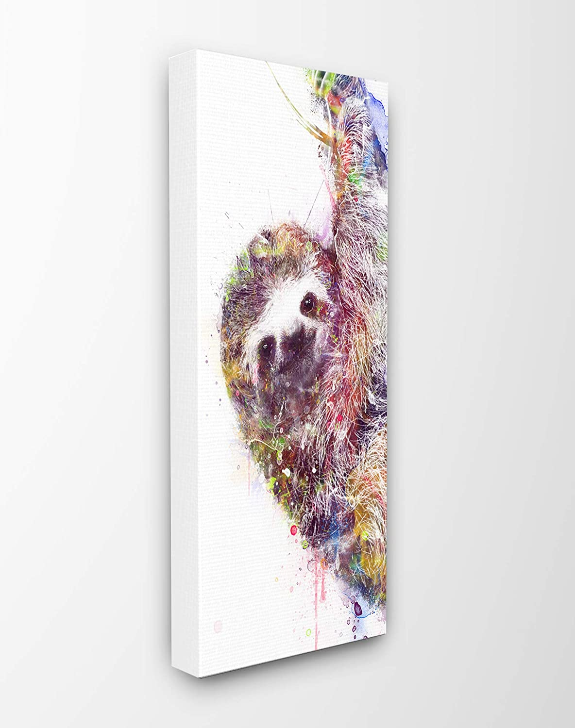 Stupell Industries Home Minimal Sloth Painterly Watercolor Abstract Stretched Canvas Wall Art, Multicolor