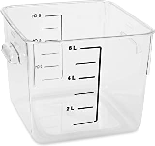 Rubbermaid Commercial Products Plastic Space Saving Square Food Storage Container Without Lid For Kitchen/Sous Vide/Food P...
