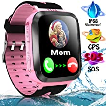 iFunplus Kids Waterproof Smartwatch Phone Girls Boys with GPS Tracker Two Way Call SOS 1.44 HD Touch Screen Camera Voice Chat Game Flashlight Alarm Clock Cellphone Gizmo Watch Learning Toys