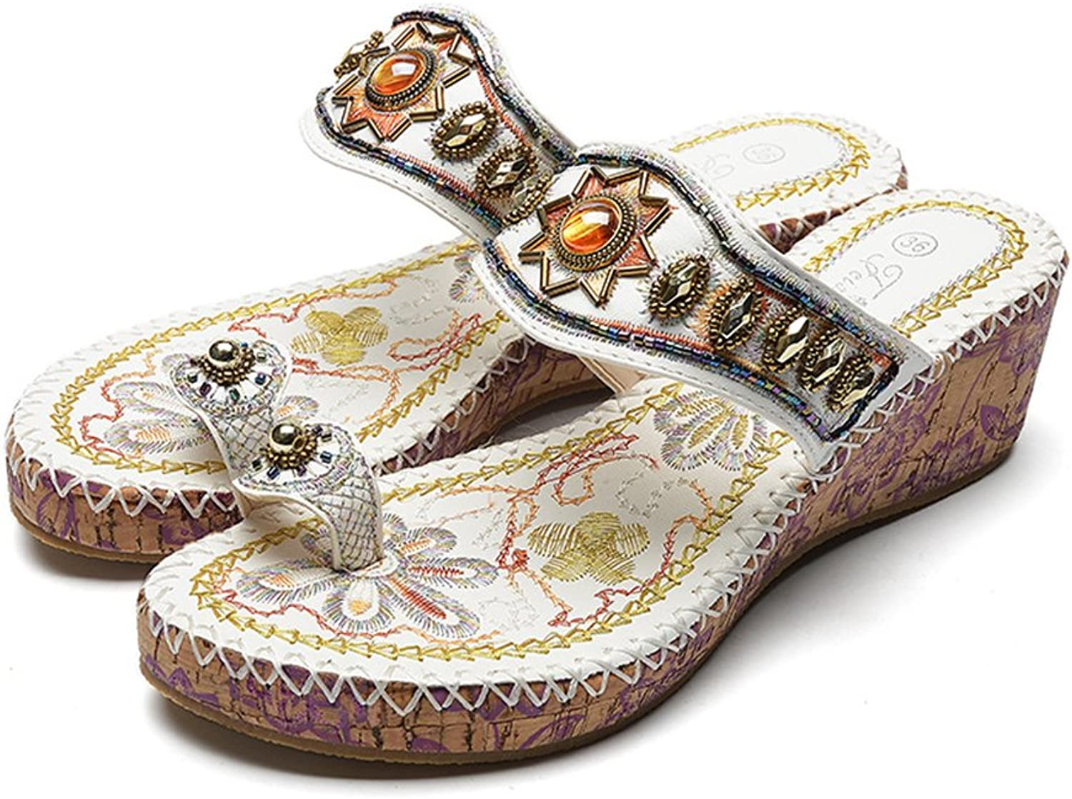 Mubeuo Women's Beaded Retro Leather Thong Flip Flops Wedge Sandals