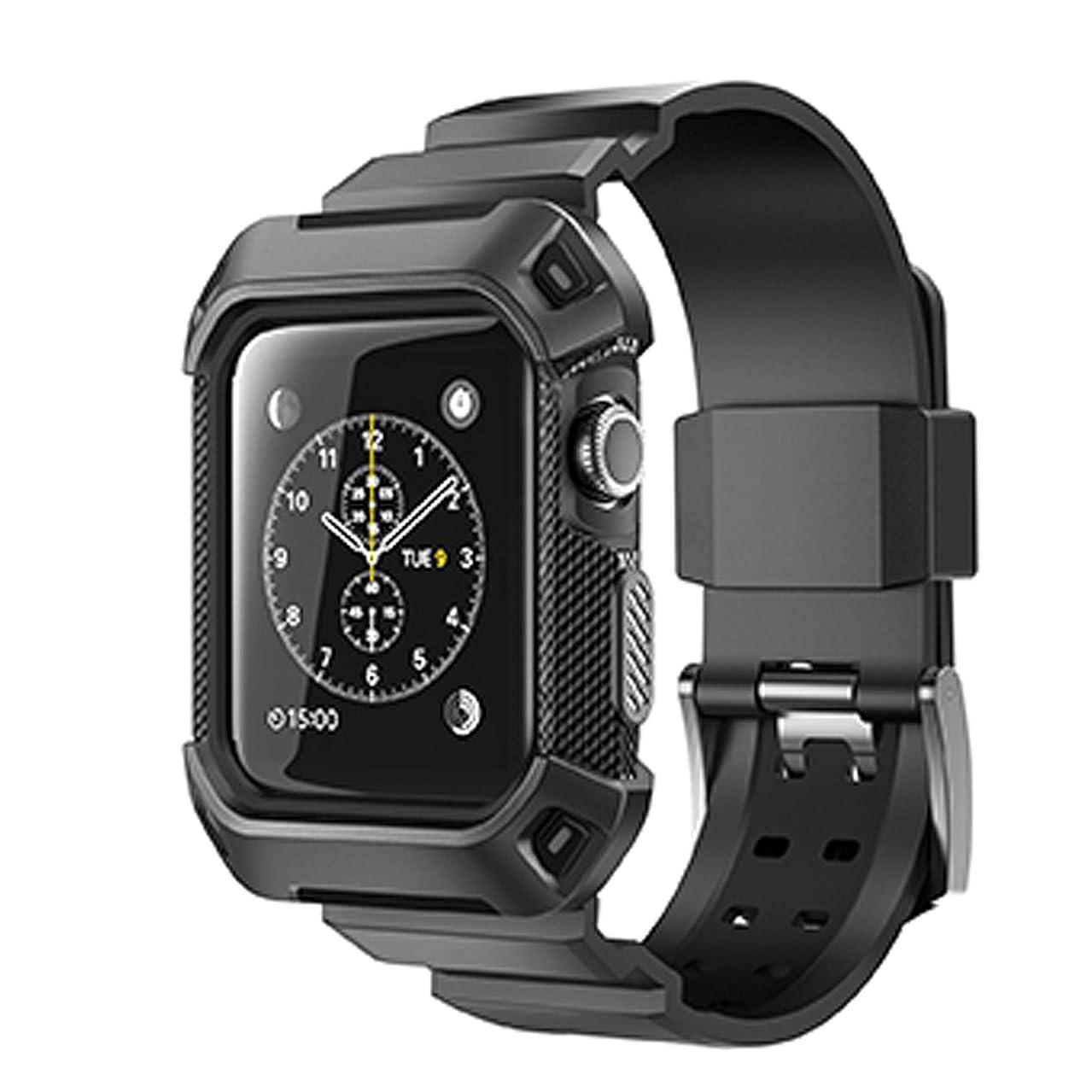 解体するシネウィ費やすnullie Apple Watch ベルト 保護フィルム付き 一体型 バンド 防水 防汗 直接充電 (38mm, 黒)