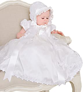 Lito Angels Baby Girls Beaded Baptism Christening Gown Infant Dresses with Bonnet Size 0-12 Months FG027