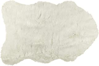 Luxe Faux Fur Luxury Soft Premium Quality Thick & Lush Fade Resistant Shed Free 100% Animal-Free Gordon Faux Sheepskin Area Rug, 2 ft x 3 ft, Off-White