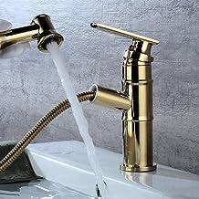 JRUIA Retro uittrekbare badkamerkraan wastafel kraan met uittrekbare handdouche eengreepsmengkraan badkamer wastafel kraan...