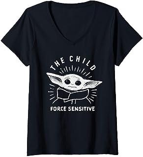 Femme Star Wars The Mandalorian The Child Force Sensitive T-Shirt avec Col en V
