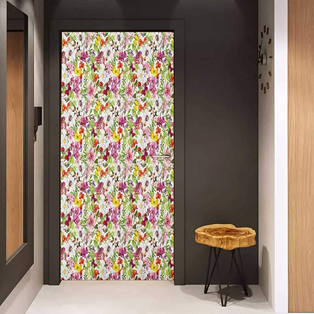 Door Sticker Flower French Vintage Retro Flower Pattern Stylish Old Fashion Design Glass Film for Home Office W36 x H79 Coral Pale Coffee Reseda Green