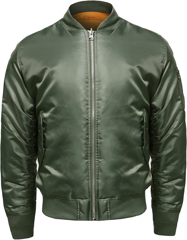 Men's Classic Basic Style Zip Up Closure Bomber Jacket
