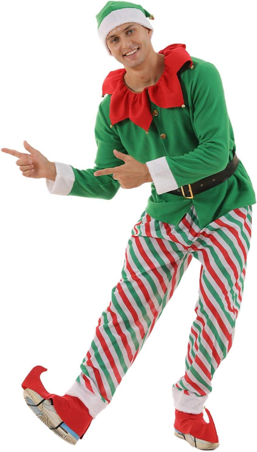 Disfraces De Papá Noel,Traje De Navidad 2020 Año Nuevo Navidad Elfos Traje Para Hombres Adultos Santa Claus Cosplay Navidad Fiesta Vestido Elegante Sombrero Para Año Nuevo Traje De Fiesta De Navi