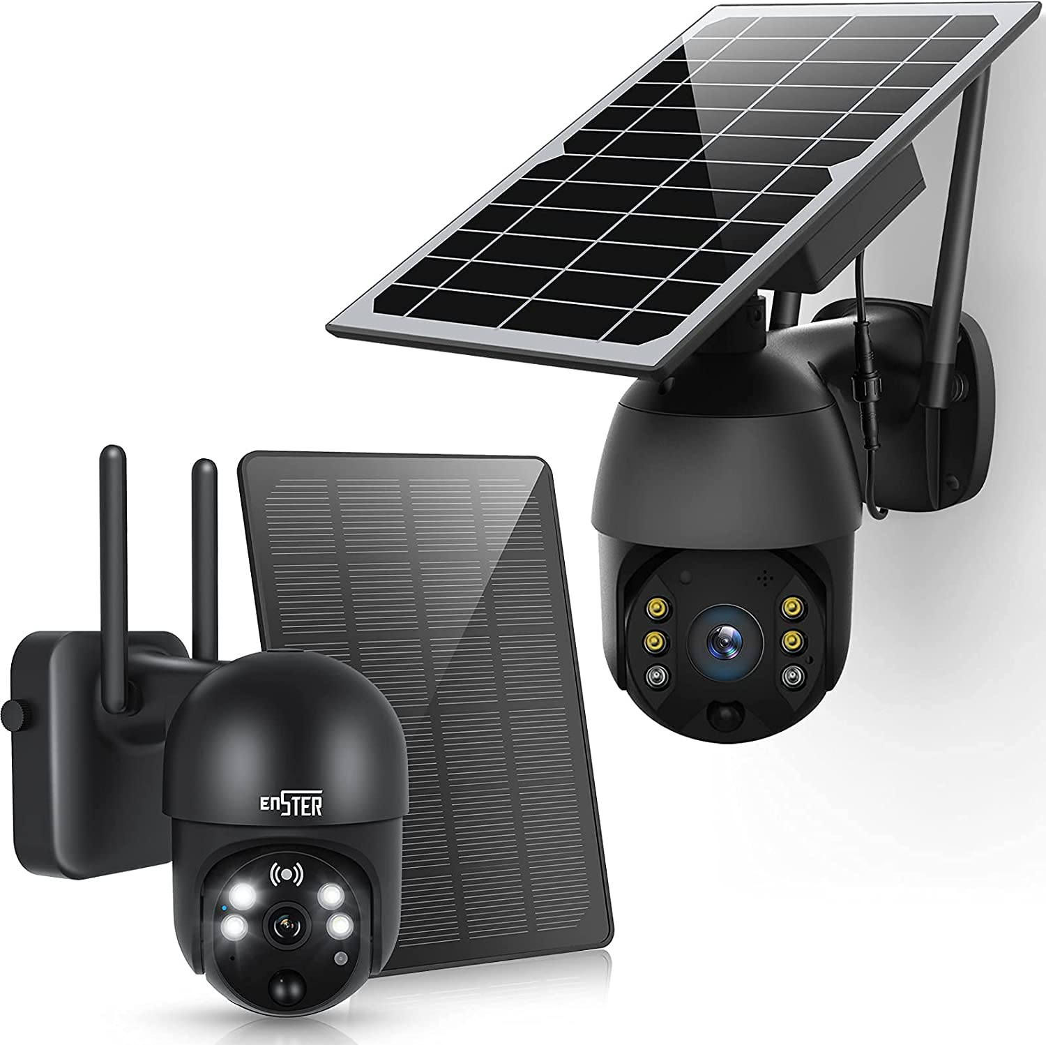 Solar Powered Wireless Security Camera Outdoor,ENSTER PTZ WiFi Home Smart Cam Waterproof with Spotlight,Battery,Solar Panel, Color Night Vision,Motion Detection,2-Way Audio,SD&Cloud Storage-Black