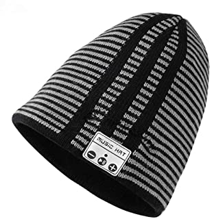 JTONG Wireless Music Beanie Hat with Bluetooth Headphones Earphone, Unisex Winter Warm Knit Running Cap Stereo Speakers Mic for Men Women Outdoor Fitness Compatible with iPhone Android (Stripe)