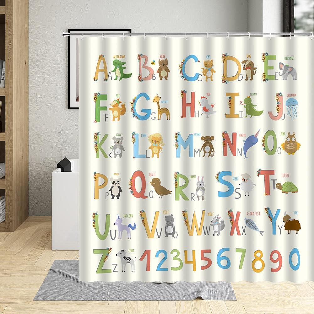 Child Cartoon Genuine Bathroom Decor Curtains Baby A Kids Number English Soldering