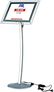 11x17 LED Light Up Curved Sign Menu Stand for Floor with Clear Acrylic Poster Size Black, Landscape & Portrait - Silver, Advertising Illuminated Display
