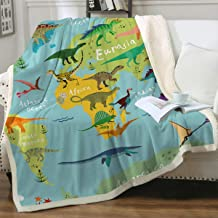 Sleepwish Sherpa Throw Blanket for Couch Sofa and Chair, Boys Dinosaur Blankets and Throws Super Soft Reversible Cozy and Plush (Blue Map,Throw 50