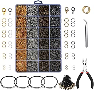 SNOWINSPRING 3143Pcs Jewelry Findings Jewelry Making Starter Kit with Open Jump Rings Lobster Clasps, Jewelry Pliers Black...