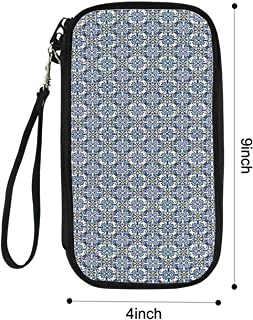 Moroccan Portable Passport package,Azulejo Ceramic Pattern with Rectangle Shapes with Diagonal Square Design Decorative for Airport,9