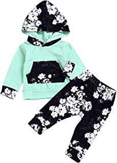 Baby Girls Florals Outfit Newborn Ruffle Romper Hoodie Sweatshirt Top + Flower Print Pants Outfit Set