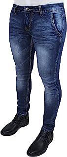 Evoga Jeans Uomo Pantaloni Slim Fit Aderenti Blu Denim Casual