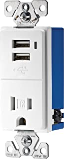 EATON TR7740W-K Combination Electrical Receptacle, 125 V, 15 A, 1.9 x 3.8 x 5.9, White