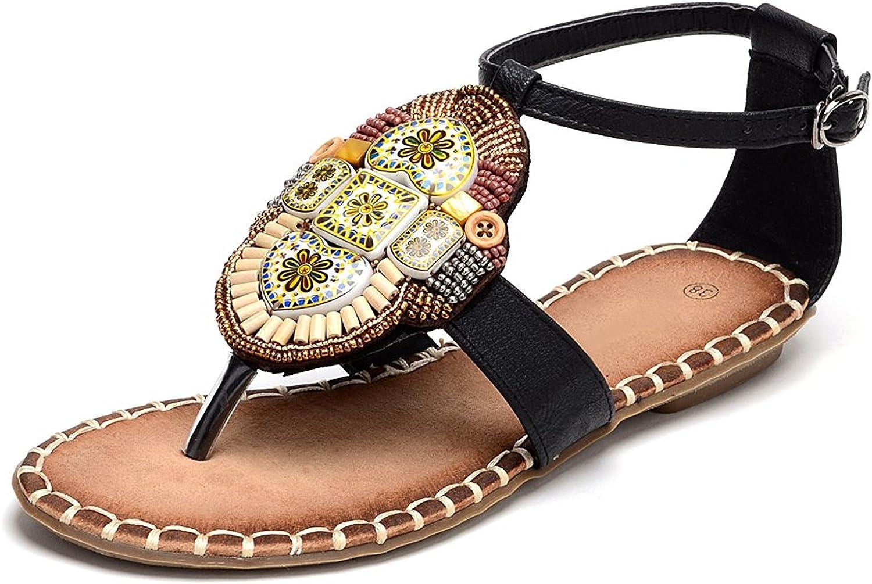 D2C Beauty Women's Heart Rhinestone Bohemia Beaded Flat Thong Sandals