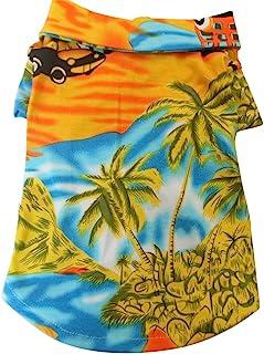 Tangpan Hawaiian Beach Coconut Tree Print Dog Shirt Summer Camp Shirt Clothes(Yellow,L)