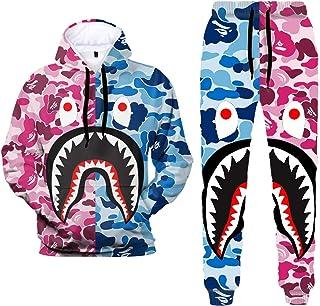 3D Print Camo Shark Hoodies and Pants Fashion Causal Sport Suit for Men Women