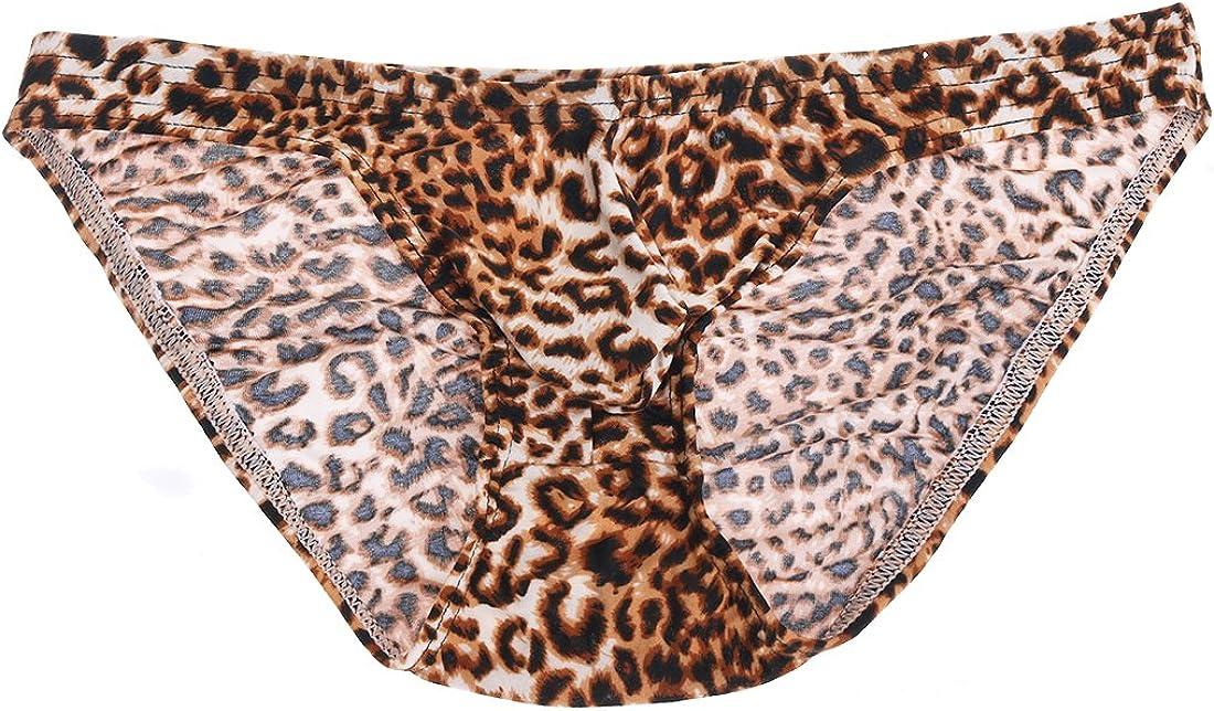 iEFiEL Men's Lingerie Leopard Print Bikini Briefs Underwear