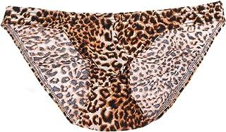 TiaoBug Sexy Men's Underwear Leopard Print Bulge Pouch Briefs Bikini Swimwear Panties